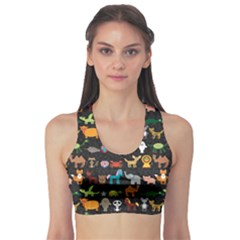 Black Set Of Funny Cartoon Animals Character On Black Zoo Women s Sport Bra by CoolDesigns