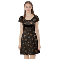 Black Happy Halloween Night Illustration Short Sleeve Skater Dress by CoolDesigns