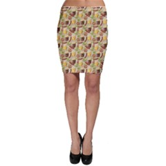 Colorful Glass Mugs Lager Dark Beer Hop Pretzel Sausage Pattern Bodycon Skirt by CoolDesigns