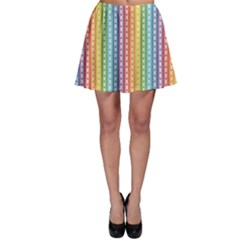 Colorful Striped Rainbow Pattern With Colorful Butterflies Skater Skirt