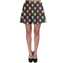 Black Pattern With Colorful Owls On Dark Skater Skirt by CoolDesigns
