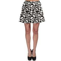 Black Pattern With Cartoon Cows Black And White Skater Skirt