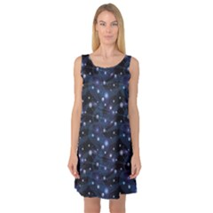 Blue Pattern Of Space Night Sky Sleeveless Satin Nightdress