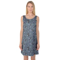 Blue Hedgehogs In The Night Forest Pattern Sleeveless Satin Nightdress