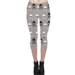 Gray Pattern Skulls Capri Leggings by CoolDesigns