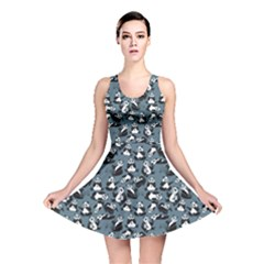 Blue Set Cartoon Funny Panda On A Blue Animal Pattern Reversible Skater Dress