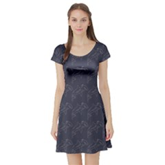 Blue Hammerhead Shark Pattern Short Sleeve Skater Dress