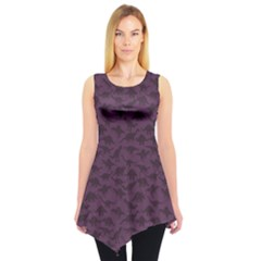 Purple A Pattern With Dinosaur Silhouettes Sleeveless Tunic Top by CoolDesigns