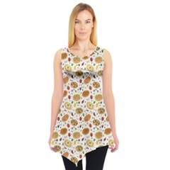 Colorful Pattern With Different Pizza And Spices Sleeveless Tunic Top by CoolDesigns