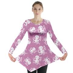 Purple Cute Octopus Stylish Design Long Sleeve Tunic Top