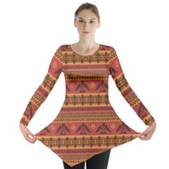 Brown Eagles Ethnic Style Pattern Tribal Native American Long Sleeve Tunic Top by CoolDesigns
