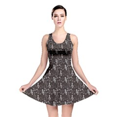 Black Pattern With Music Notes Treble Clef Reversible Skater Dress by CoolDesigns