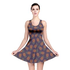 Purple Pattern Of Pineapple Reversible Skater Dress by CoolDesigns