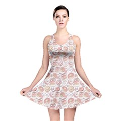 Pink Donut Pattern Reversible Skater Dress by CoolDesigns