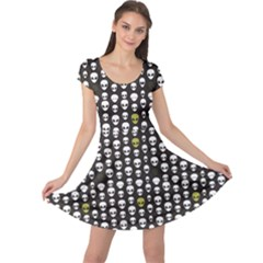 Black Alien Head Cap Sleeve Dress