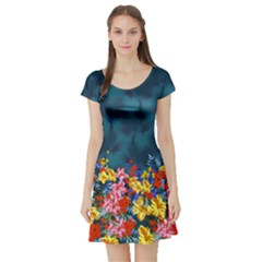 Dark Aqua Hawaii Short Sleeve Skater Dress