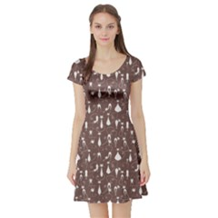 Mocha Cat Short Sleeve Skater Dress by CoolDesigns