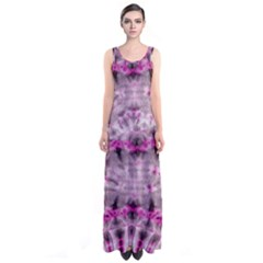 Pink Gray Tie Dye Sleeveless Maxi Dress by CoolDesigns