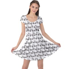 Gray Bicycles Pattern Modern And Retro Bicycles Cap Sleeve Dress by CoolDesigns