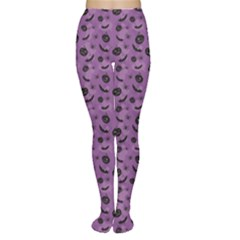 Purple Halloween Pumpkins Bats And Spiders Grungy Women s Tights