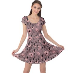 Brown Pattern Of Stylized Dance Of Flowers And Ballerinas Cap Sleeve Dress