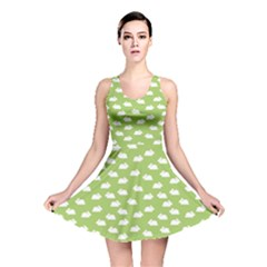 Green Pattern With White Bunnies Reversible Skater Dress by CoolDesigns