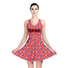 Red Eggplant Pattern With Ripe Eggplants Reversible Skater Dress