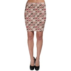 Brown Animal Pattern Of Dog Silhouettes Endless Bodycon Skirt by CoolDesigns
