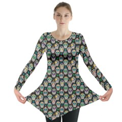 Black Day Of The Dead Sugar Skull Long Sleeve Tunic Top by CoolDesigns