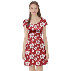 Red Pattern Hibiscus Flowers On Red Short Sleeve Skater Dress
