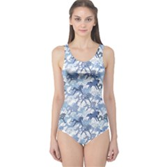 Blue Pattern Horses One Piece Swimsuit