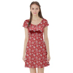 Red Pattern Winter Christmas Short Sleeve Skater Dress by CoolDesigns