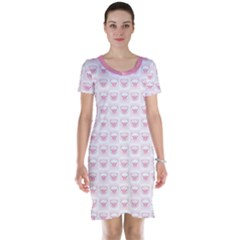 Pink Cute Pig Pattern With Pink Pig Faces Short Sleeve Nightdress by CoolDesigns