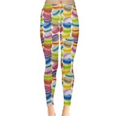 Colorful Pattern Colorful Macaroon Cookies Leggings by CoolDesigns