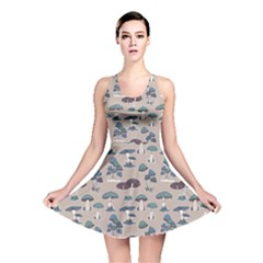 Blue Colorful Mushrooms Pattern Reversible Skater Dress by CoolDesigns