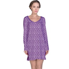 Purple Day Of The Dead Sugar Skull Long Sleeve Nightdress by CoolDesigns