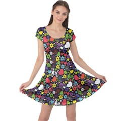 Colorful Flowers Skulls And Hearts Pattern Cap Sleeve Dress