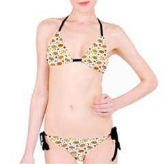 Colorful Pattern With Different Pizza And Spices Bikini Set by CoolDesigns