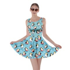 Blue Pattern Funny Penguins Snowflakes On Blue Icy Skater Dress