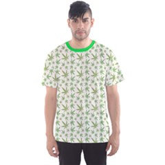 Green Green Cannabis Leaves Pattern Men s Sport Mesh Tee