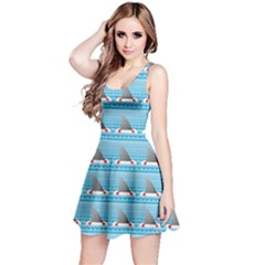 Blue Shark Fin Life Buoy Easy To Edit Sleeveless Dress
