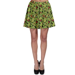 Green Cute Monsters In The Grass Pattern Skater Skirt by CoolDesigns