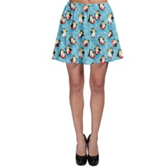 Blue Pattern Funny Penguins Snowflakes On Blue Icy Skater Skirt