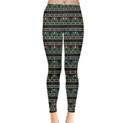 Dark Polish Folk Art Pattern With Flowers Wzory Lowickie Leggings
