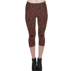 Dark Red Flame Hell Fire Seamless Capri Leggings