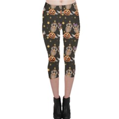 Black Halloween Two Cartoon Owls With Pumpkins Capri Leggings by CoolDesigns