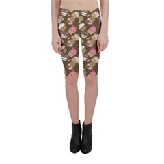 Colorful Pattern Of Tasty Cupcakes Cropped Leggings by CoolDesigns