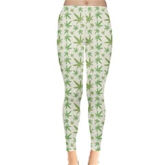 Green Green Cannabis Leaves Pattern Leggings