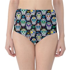 Black Day Of The Dead Sugar Skull High Waist Bikini Bottom by CoolDesigns