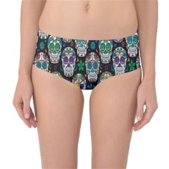 Black Day Of The Dead Sugar Skull Mid Waist Bikini Bottom